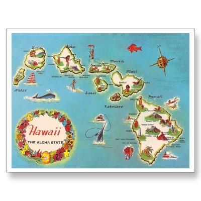 Hawaii... the aloha state. Postcard.