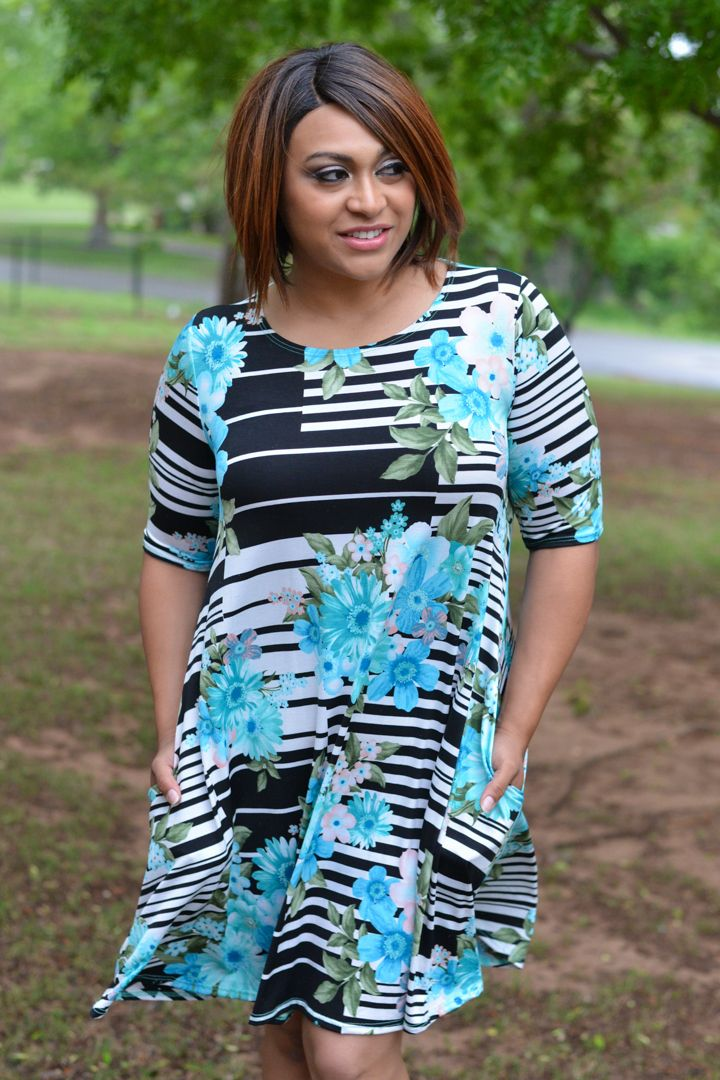 One Faith Boutique - This Is True Striped Dress With Floral Accents ~ Aqua ~ Sizes 12-18, $37.00 (https://www.onefaithboutique.com/new-arrivals/this-is-true-striped-dress-with-floral-accents-aqua-sizes-12-18/)