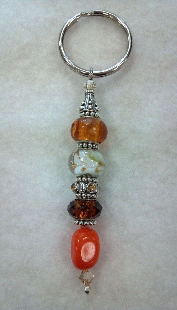 Beaded Keychain Brown Orange and White by CanineKingdomOK on Etsy, $12.49