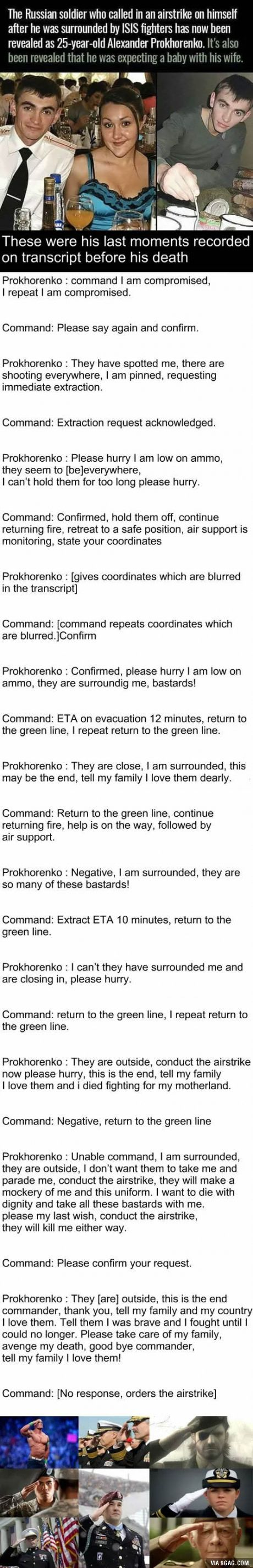 This should be taught in school, how Bravely this Hero fought and the sacrifices he made  Alexander Prokhorenko, a true hero...