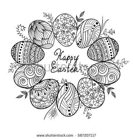 Kritzeln Sie dekorative Eier und Häschen, Kaninchen für Ostern-Karte. Kann als Einladung verwendet werden …