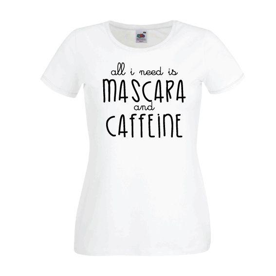Dames | Lady-fit tshirt Mascara & caffeine (613820/780)