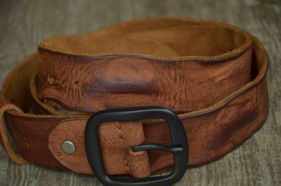 Unique Leather Belt Genuine Cowhide Leather Belt Distortion Wrinkle Impression Belt Reddish Brown Belt Distressed Leather Belt by SherryJewelry, $27.00