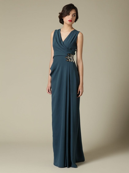 J. Mendel - Silk Soft Draped Gown in Peacock Blue