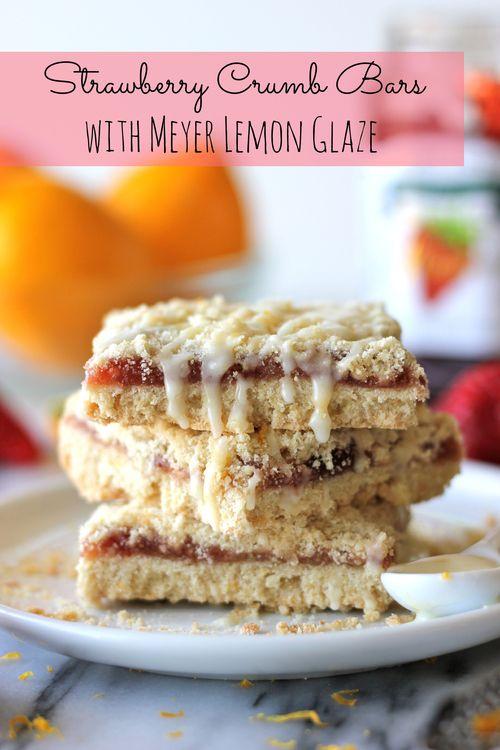 Strawberry Crumb Bars with Meyer Lemon Glaze from Damn Delicious | Chung-Ah Rhee