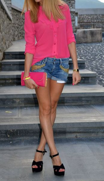jean shorts, hot pink button up, black strappy heels