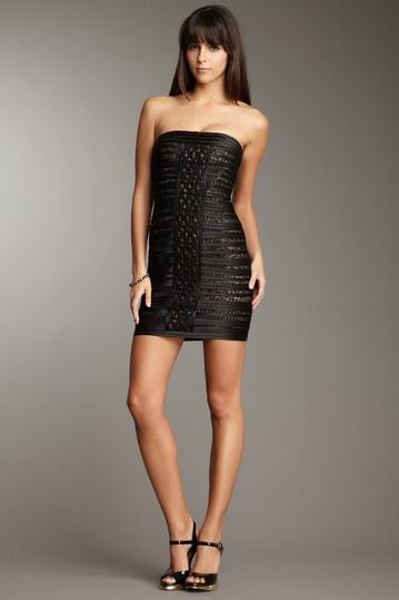 Black White Strapless Dress