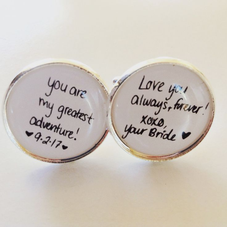 Brides handwritten message turned into cufflinks for her groom. Great wedding day gift!
