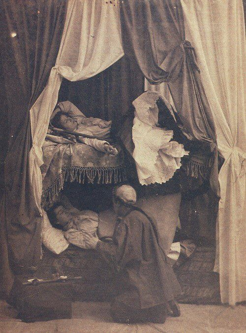 Women in an opium den, late 1800s  (Lounge in a luxurious bed, and they bring you drugs... how definitively BAD is that?]