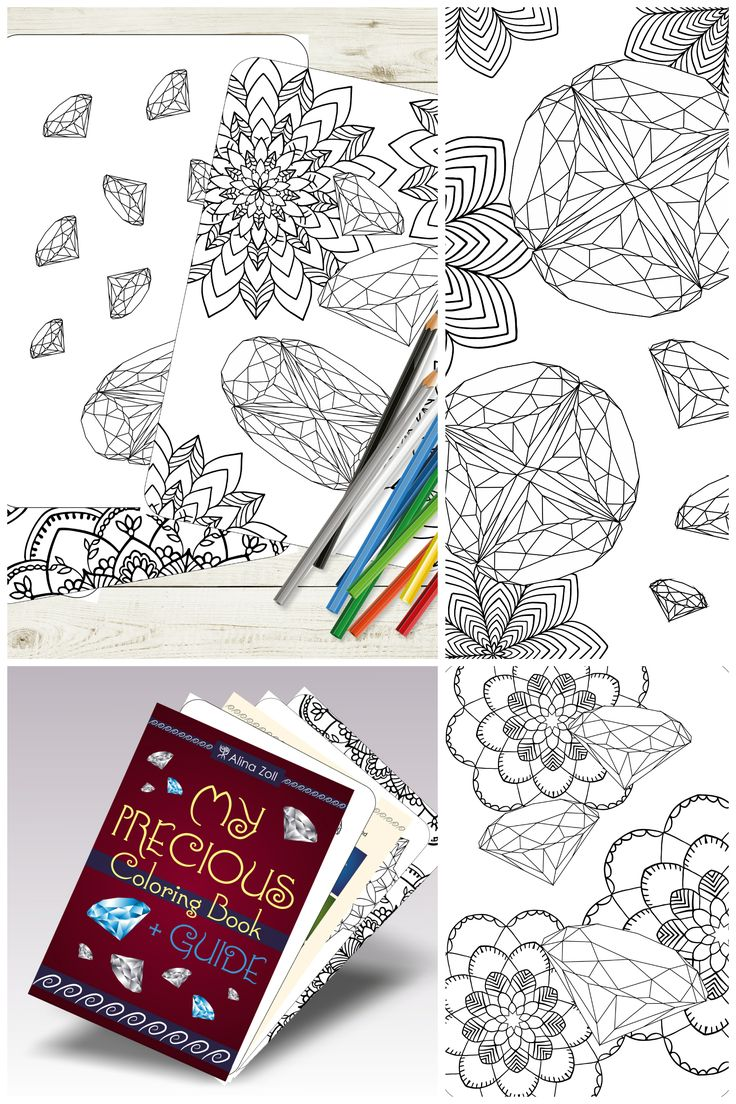 Gemstone adult coloring book coloring pages with guide and examples diamond drawing tutorial