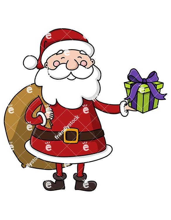 Santa With Gift Bag Holding Present Cartoon Clipart Vector Friendlystock Cartoon Clip Art Christmas Vectors Black Santa