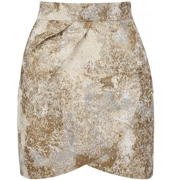 Yumi Metallic Jacquard Tulip Skirt ($76) ❤ liked on Polyvore featuring skirts, mini skirts, bottoms, saias, ivory, women, metallic skirt, short skirts, tulip skirt and brown skirt