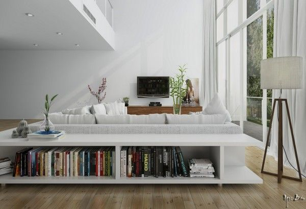 Long Low Bookcase Wood