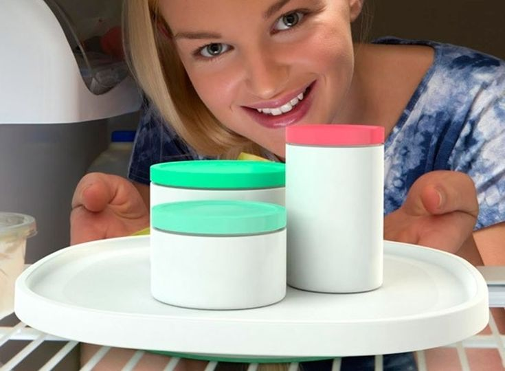 Squircle-Shaped Spinning Trays Make It Easier To Retrieve Items In The Back Of The Fridge