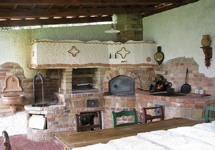 Brick Pizza Oven Of An Outside Kitchen In Hungary