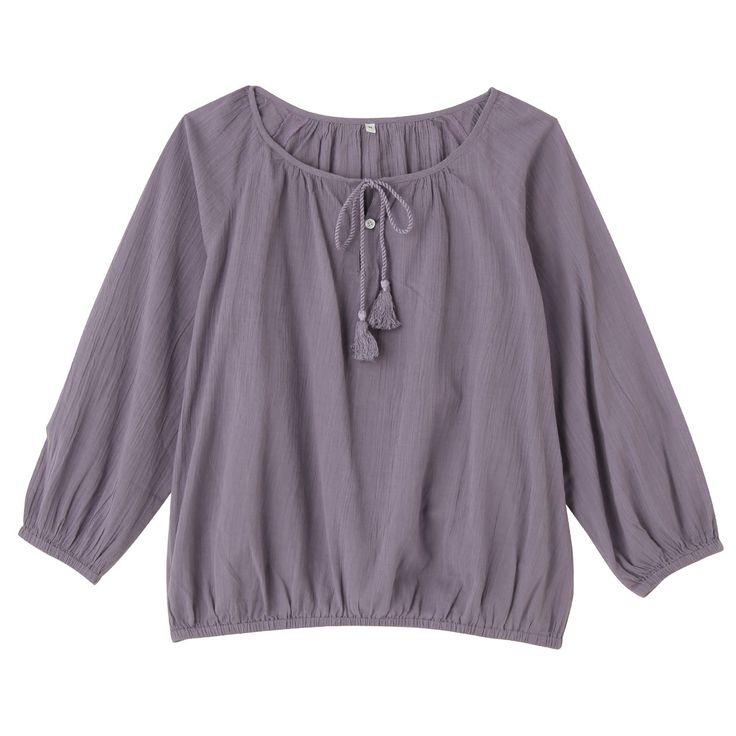India cotton Crepe blouse lady L · Lavender