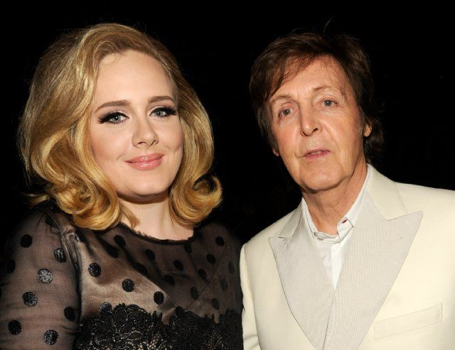 Paul McCartney with Adele at the 54th Grammy Awards, February 2012