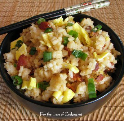 definitely make the rice the day before. I love the simple flavors of egg, green onion and bacon. The white pepper gave it a bit of a kick while the soy helped it be flavorful. It paired nicely with the Asian Chicken Breasts and steamed broccoli. This was a wonderful version of fried rice and I can't wait to make it again. Thanks for the great recipe Jen!