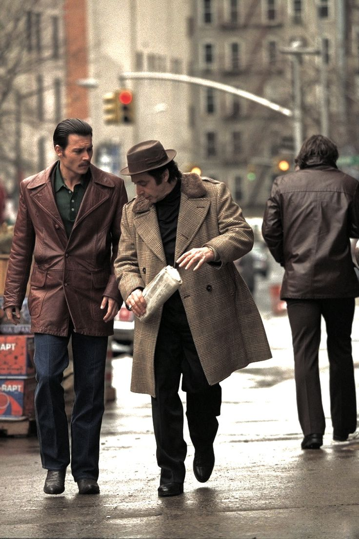 """Johnny Depp & Al Pacino in Donnie Brasco - """"Shave off that mustache and don't wear jeans, wear slacks"""" Good advice for anybody."""