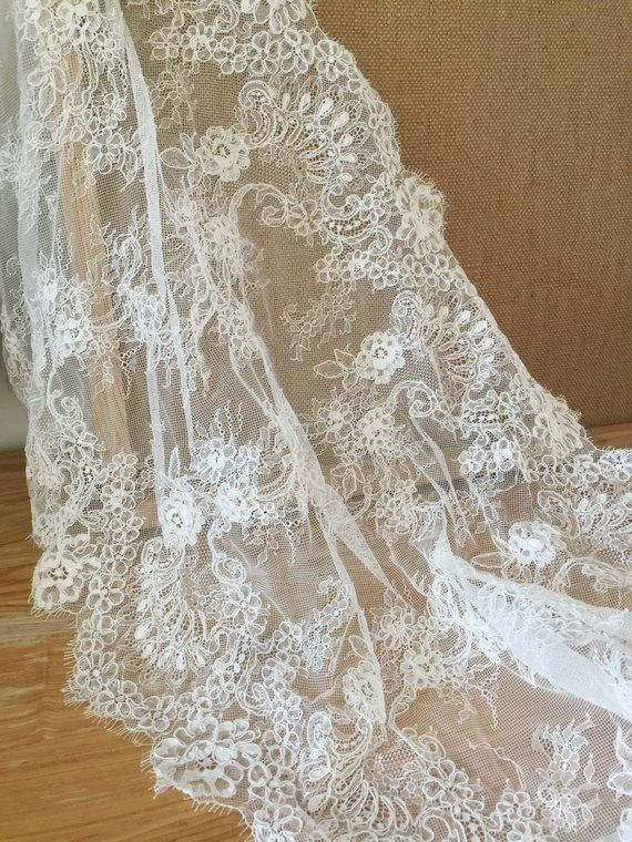 50CM*1 Yard Delicate Eyelash Embroidered Flower Sequin Lace trim Wedding//sewing