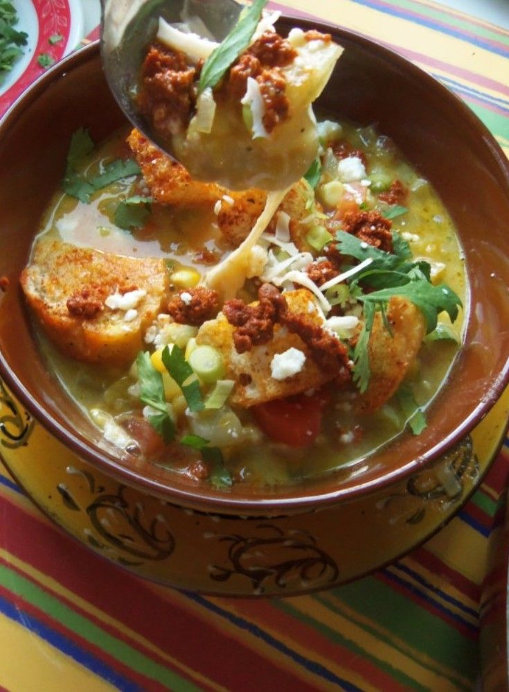 Green Chile and Cheese Soup With Smoky Croutons