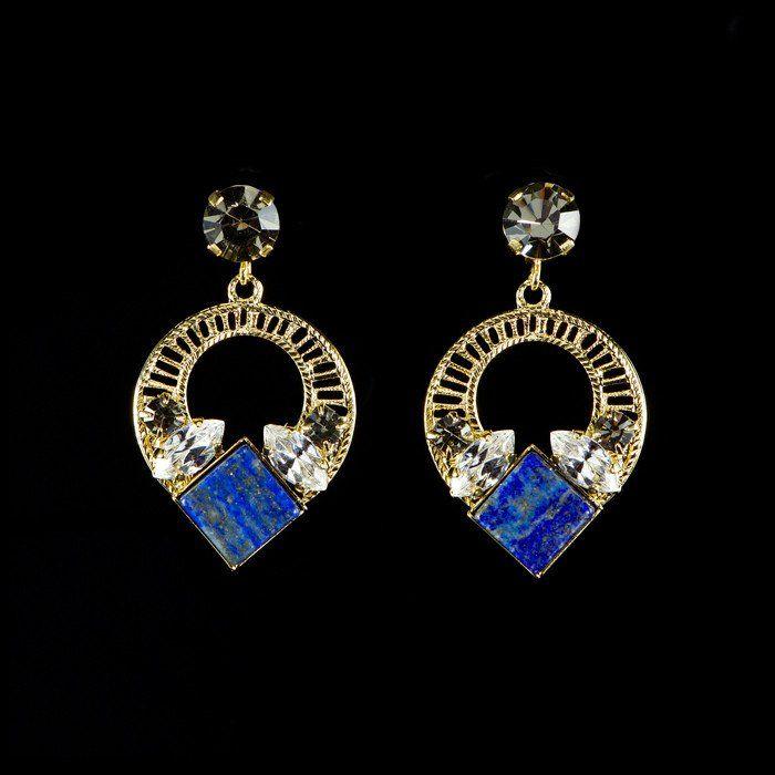 Anton Heunis 'Tamara' Lapis Lazuli & Crystal Hoop Earrings (TA3.03)   Alexandra May Jewellery