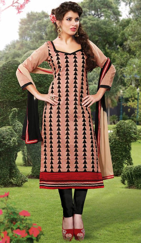 USD 26.17 Salmon Cotton Churidar Suit 51701