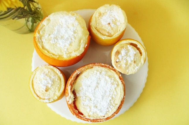 Citrus souffle served in a grapefruit, lime or orange! Yum!