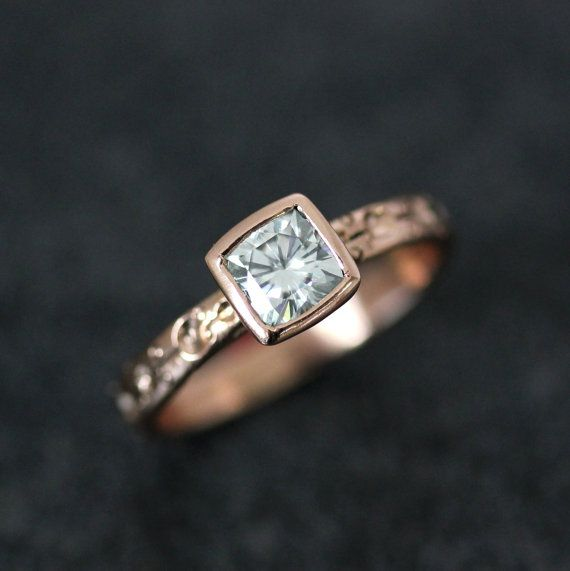 Ready To Ship Size 6 Moissanite and 14k Rose gold by onegarnetgirl, $998.00