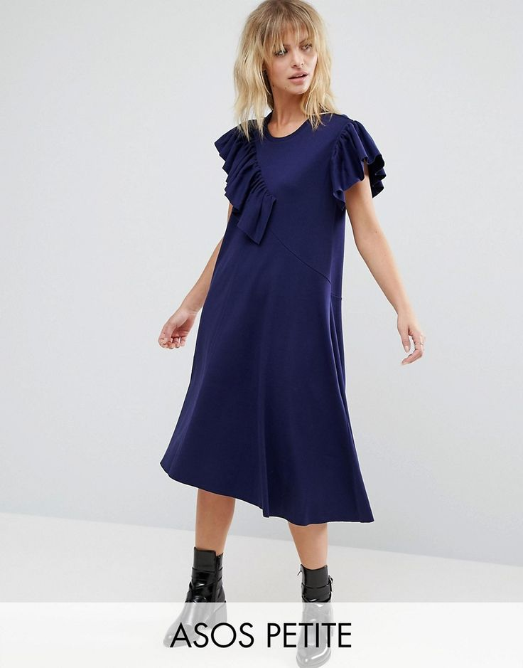 Get this Asos Petite's shirtwaist dress now! Click for more details. Worldwide shipping. ASOS PETITE T-Shirt Dress with Frill Detail - Navy: Petite dress by ASOS PETITE, Lightweight cotton jersey, Crew neck, Frill detailing, Relaxed fit, Machine wash, 100% Cotton, Our model wears a UK 8/EU 36/US 4, Midi dress length between: 105-110cm. 5�3�/1.60m and under? The London-based design team behind ASOS PETITE take all your fashion faves and cut them down to size. Say goodbye to all your short-...