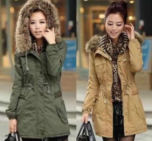 abrigo para dama color caqui y verde militar