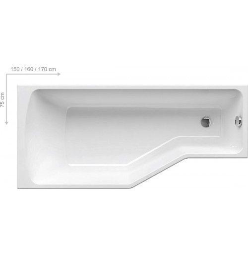 BeHappy kád - 150x75 cm aszimmetrikus akrilkád