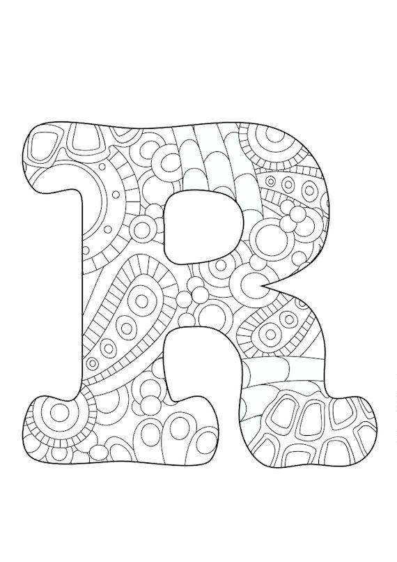 Letter R Adult Coloring Page Colored Pencils Monogram