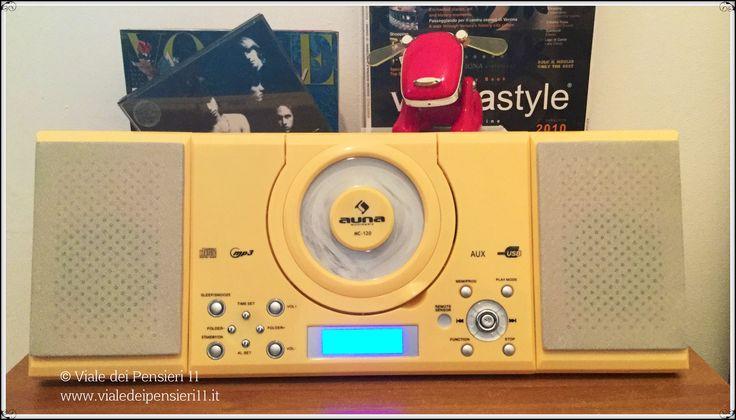 Compatto e dal bel design il mini impianto stereo auna MC 120 col lettore DC e MP3, Radio AM/FM, orologio, sveglia e pratico telecomando