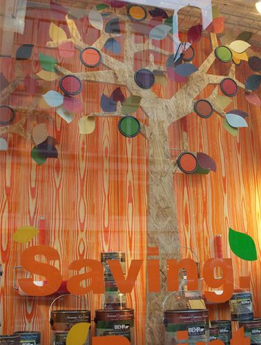 window display ideas | Image : Home Depot Window Display – using a piece of ply wood ...