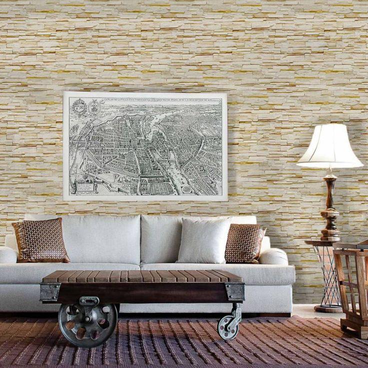 Papel de parede pedra canjiquinha bege e amarelo claro 001