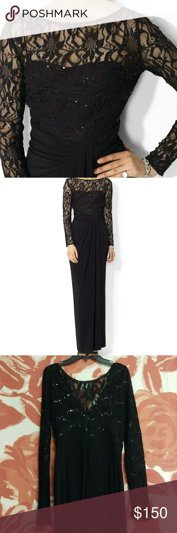 Ralph Lauren Evening Gown Floor Length Gown, long sleeve, Sequin mesh top.   V-neck back with zipper. Zipper works fine.   Worn Once.   I am 5'7 and the dress hits the floor on me while wearing no shoes. Ralph Lauren Dresses