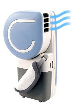 This is the best battery powered portable handheld air conditioner we could find. It is small enough to take with you anywhere and large enough to supply endless cooling air. Great for Hot Flashes. The personal air conditioning fan utilizes evaporative cooling technology and is controlled by a high to low variable speed control.