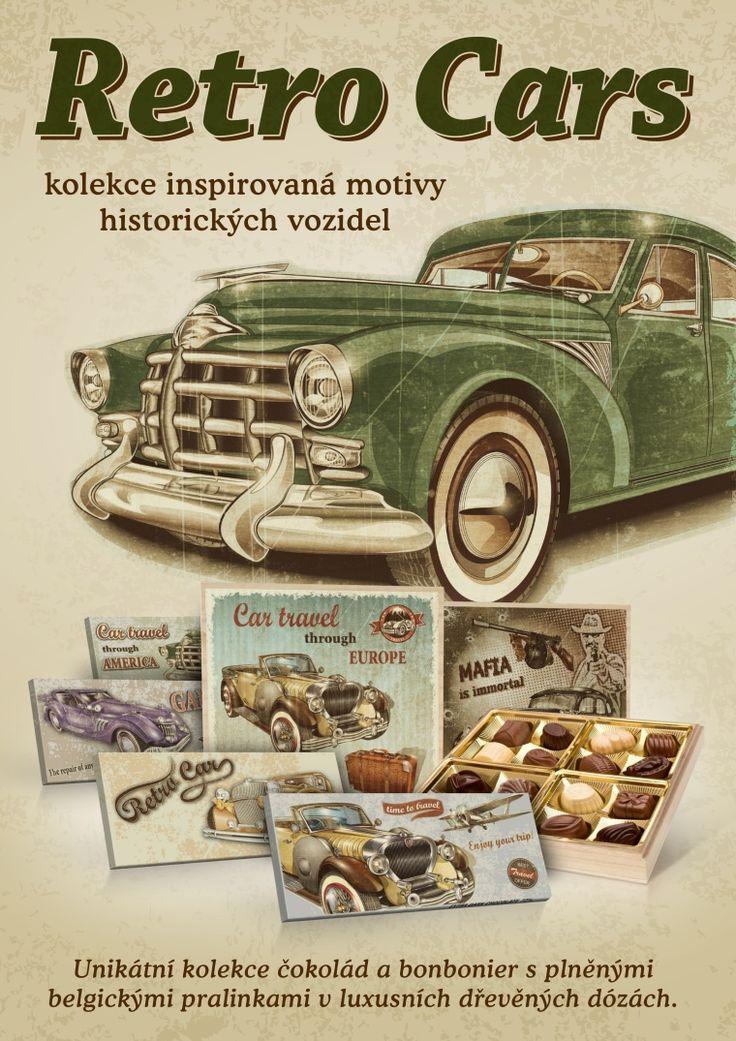 Belgická čokoláda v luxusních dózách s motivy historických automobilů