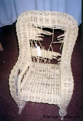 "I have a lovely old wicker rocker in need of repair. This is a ""how-to"" page."
