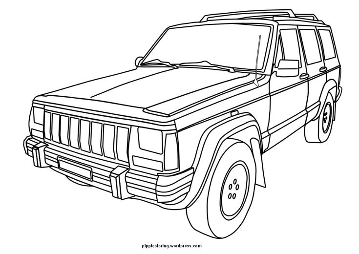 Square-shouldered Cherokee for the Jeep Coloring Book.