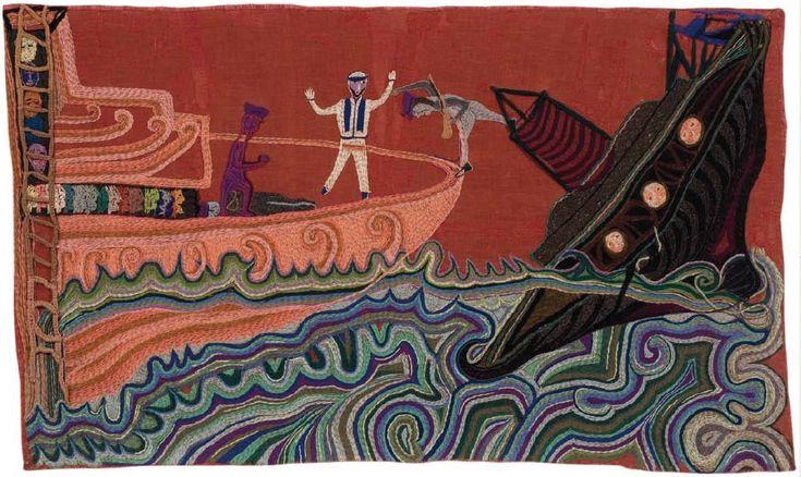 Combate naval II.  1964.  132 x 220 cm sin montaje.  Violeta Parra.