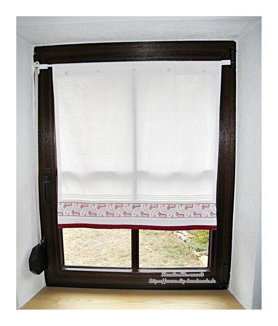 Vintage Gardine Upcycling Scheibengardine Decor Roman Shade Curtain Home Decor