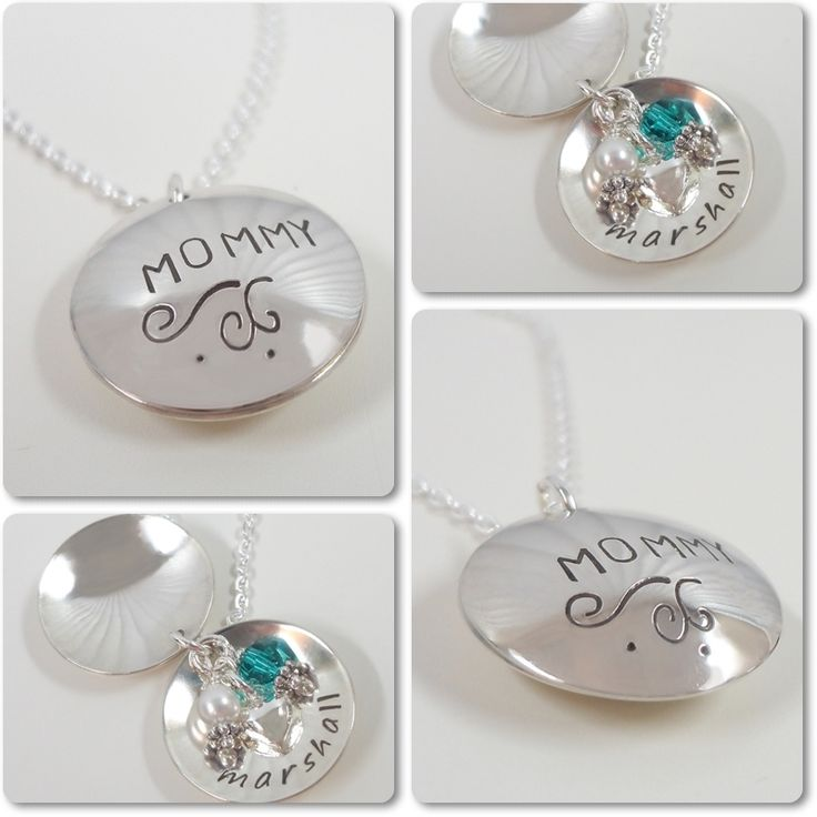 Locket Style Personalized Mommy Necklace - Sterling Silver Hand Stamped Jewelry