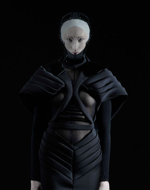 Dark Fashion with sculptural shaping & bold symmetry - futuristic fashion; wearable art // Erevos Aether