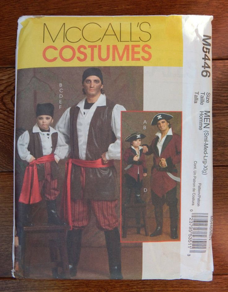 Mens Pirate Costumes Sewing Pattern/ McCall's 5446 Adult Size Sml-  Med- Lrg- Xlg 34- 48/ Cosplay, Halloween, Costume Party/ Uncut by RedWickerBasket on Etsy