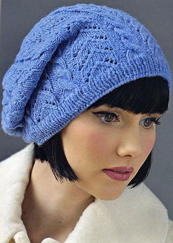 Стильная шапка-берет от Kirstie McLeod вязаная спицами
