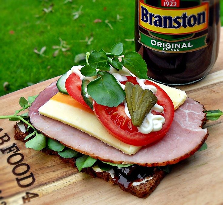 Ploughman's Open Sandwich with Branston Pickle - an Anglo/Danish fusion and totally delicious!