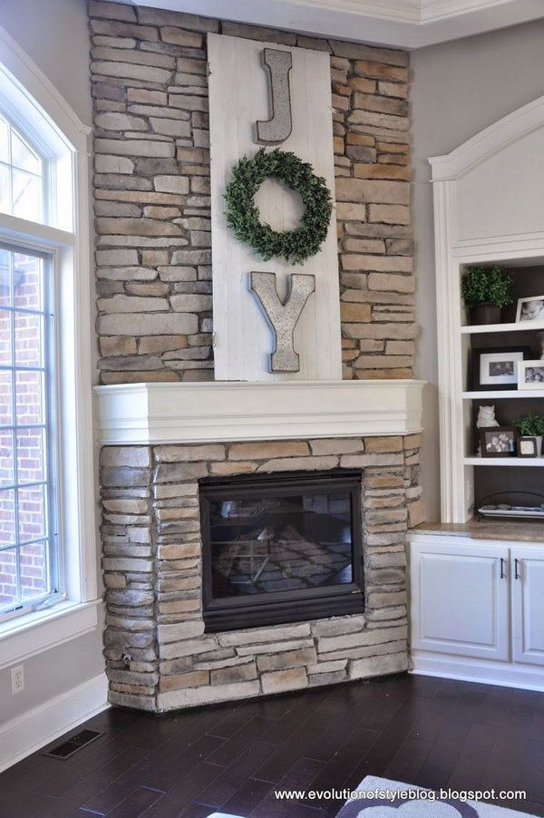 DIY Mantel Decorating with Metal Letter Sign.