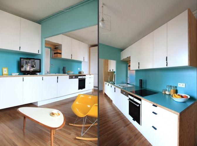 cuisine blanche mur bleu canard ref bleu vert du nuancier cuisine mur bleu modernedecors - Cuisine Mur Bleu Turquoise